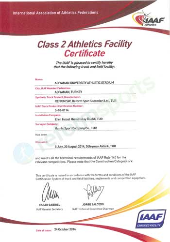 class 2 athletics facility certificate, reform sports sertifika,