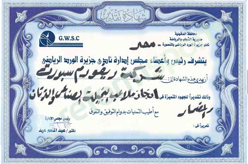 certificate of egypt,