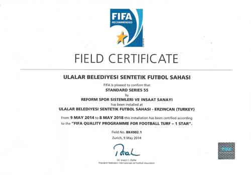 fifa certificate, fifa onaylı saha,
