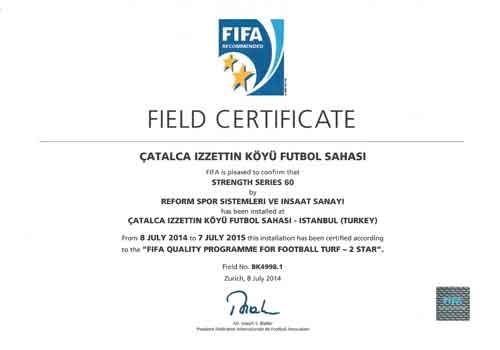fafa sahası, fifa certificate,