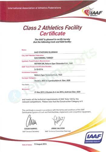 fifa certificate, fifa sertifikası, gazi athletic stadium,
