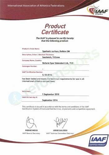 iaaf product certificate,